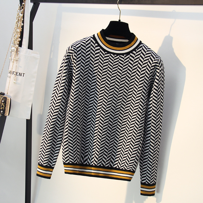 New Loose Striped Autumn Winter Women Sweater Thick Jacquard Knitted Pullover And Sweater Fashion Casual Femme Jumper