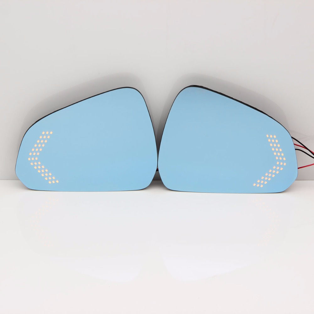 Miroir bleu rétroviseur de voiture miroir anti-éblouissement LED clignotant lampe rétroviseur chauffant lentille pour Ford mustang 2013-2017