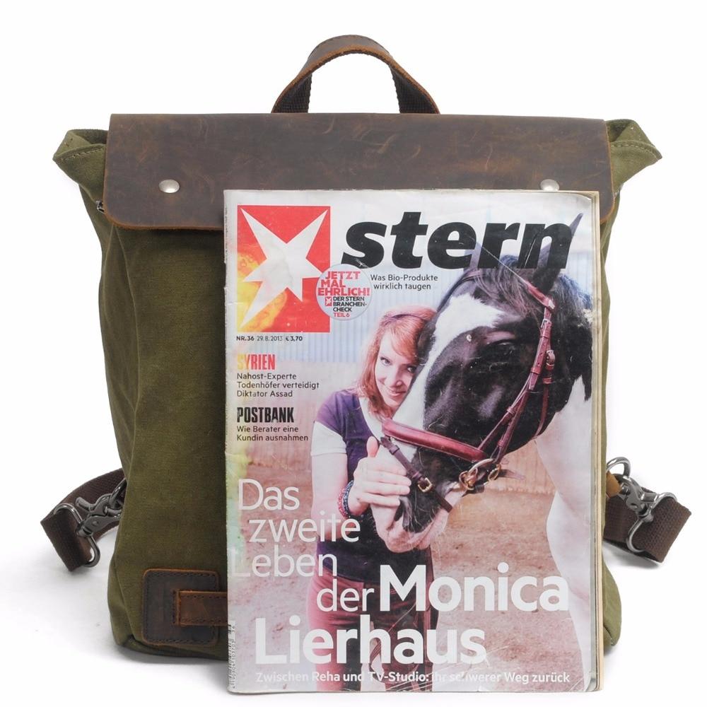 Bagaj ve Çantalar'ten Sırt Çantaları'de M103 Yeni Vintage Sırt Çantası Deri Tuval Erkek Sırt Çantası okul çantası Askeri Sırt Çantası Kadın Sırt Çantası Erkek Sırt Çantası Sırt Çantası Mochila'da  Grup 3