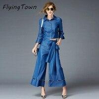 FlyingTown Tasarımcı pist moda 2017 sonbahar kadın denim setleri suits mavi uzun kollu gömlek + geniş bacak pantolon kadın ofis kot