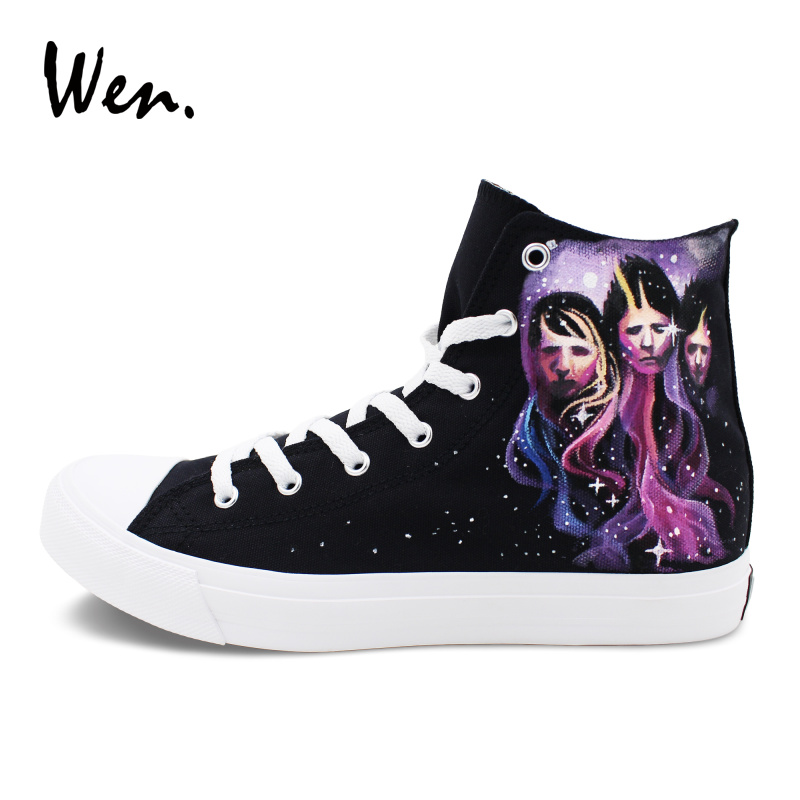 Wen Custom Design Hand Painted Shoes Black Canvas Men Women Sneakers MUSE Graffiti Skateboarding Shoes High Tops wen design custom hand painted canvas fashion shoes colorful lipsticks high top shoes sneakers white graffiti shoes men women
