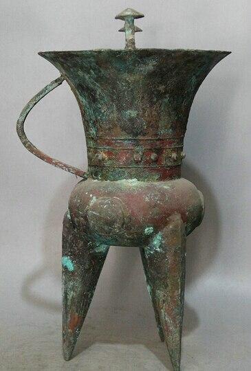 B0601 50318 China Antigua de Bronce de la dinastía 3 buque Pie copa copa de cuerno de toro estatua
