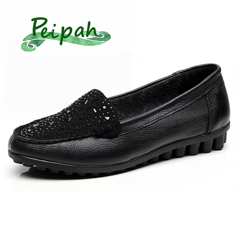 PEIPAH 2019 Spring Rhinestones Flat Shoes Woman Genuine Leather Shallow Slip On Shoes Women Loafers Summer Solid Mocassin Femme