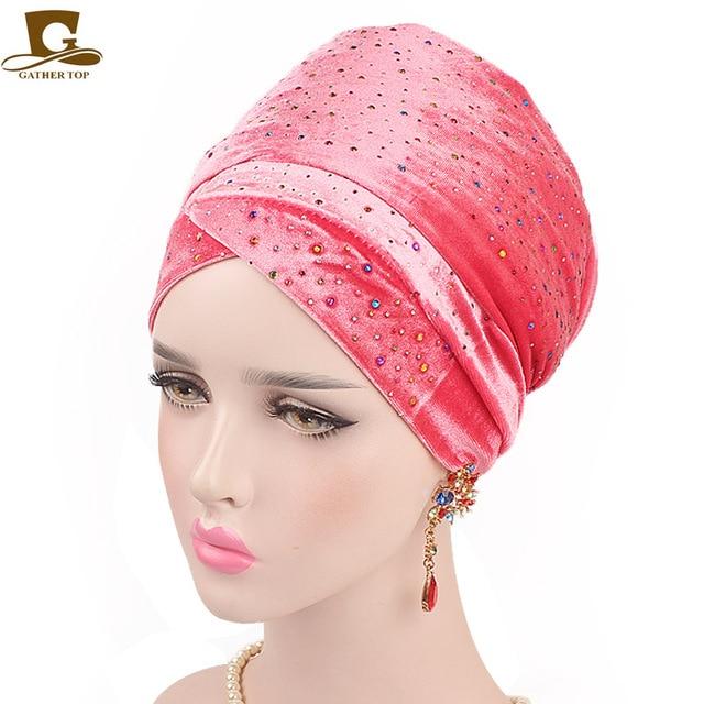 d6a41610542 New Women Luxury Colorful Diamond velvet turban long head scarf headwrap  women muslim hijab Six Colors