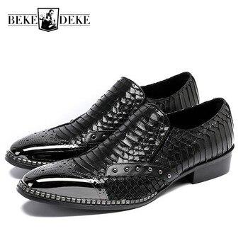2019 New Designer Genuine Leather Shoes Men Slip On Loafers Beading Formal Moccasin Business Man Snake Office Work Dress Shoes