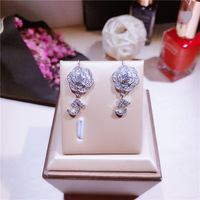 Number 5 Earrings silver color cz stone camellia Earings For Women famous brand 925 sterling silver Earring Jewelry brinco
