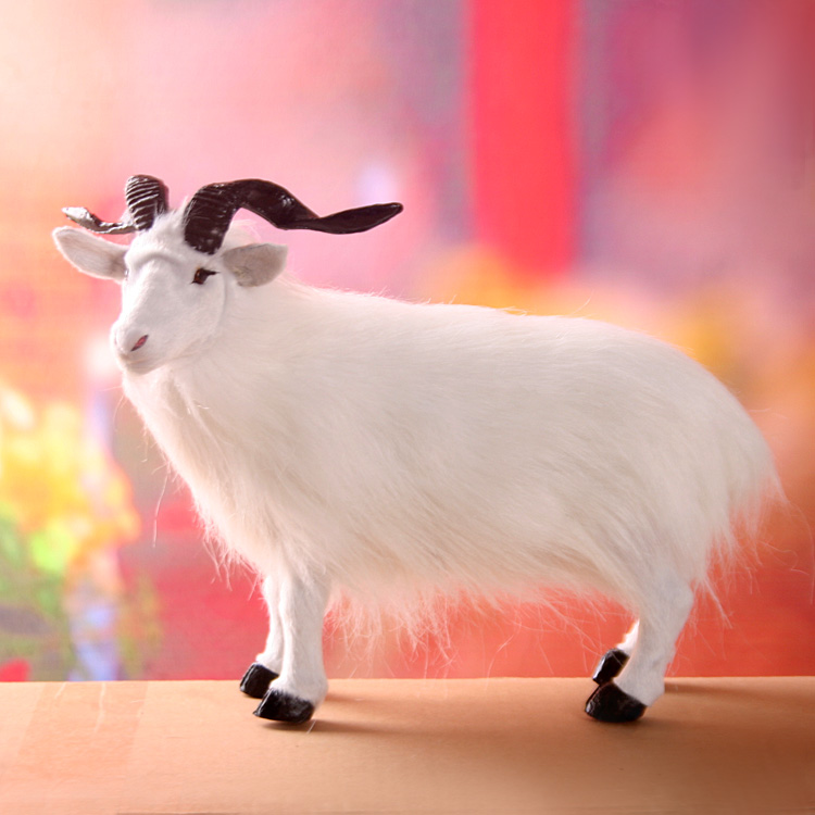 Nouveau jouet de chèvre blanc simulation polyéthylène & fourrures mouton poilu poupée cadeau environ 35x27 cm 1624
