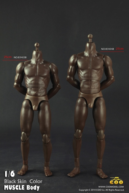 """1/6 scale figure doll body in black skin for 12"""" action figure doll accessories Normal Male body in Neck version"""