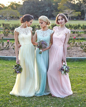 2016 New Honor Of Brides Pastel Bridesmaid Dresses Wedding Guest Formal Gown With A-line Cap Sleeve Blue Mint Pink Chiffon Cheap