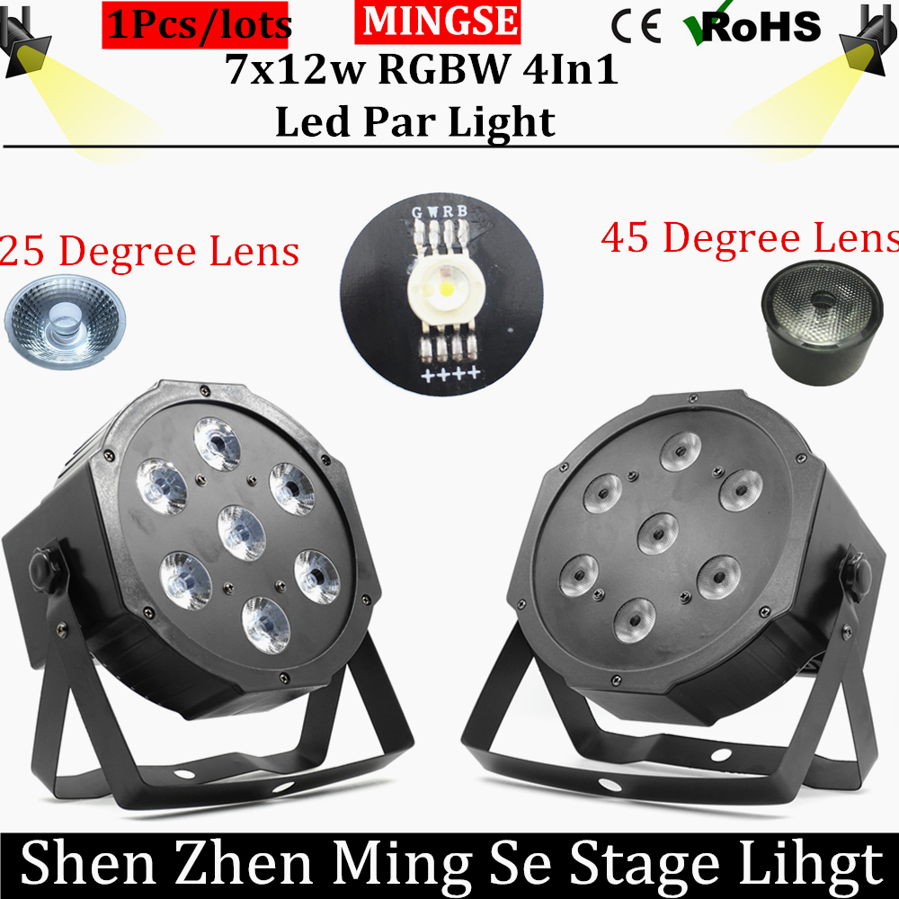 Fast shipping 7x12w led par lights 25/45 degree lens RGBW 4in1 flat par led dmx512 with 4/8 channel professional  stage lights