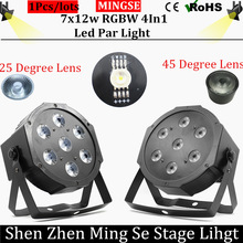 Envío rápido 7×12 w RGBW led par luces de 25/45 grados de la lente 4en1 par plana led dmx512 con 4/8 canales etapa profesional luces