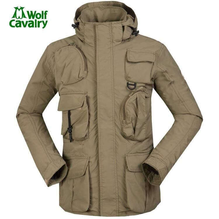 CavalryWolf  tech fleece heated  Sport Softshell Outdoor Men's Winter warm Jacket Multi-pocket Windproof Waterproof Jacket