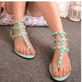 rivet flat shoes women 2016 spring and summer clip toe sandals candy color sweet female shoe flip flops zapatos mujer