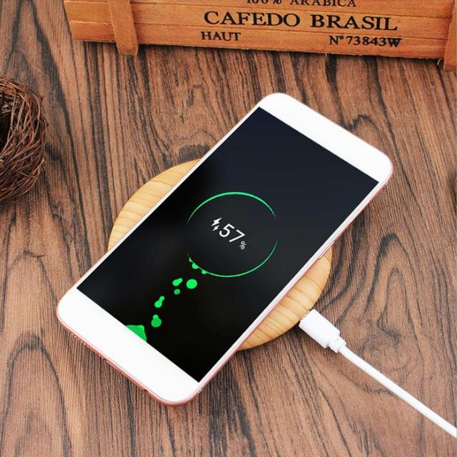 US $4 16 15% OFF|QI Wireless Charger Smart Phone Fast Charging Smart Power  Off Round Wood Grain USB Charger For IPhone 7/8 Plug Samsung 7/8 -in