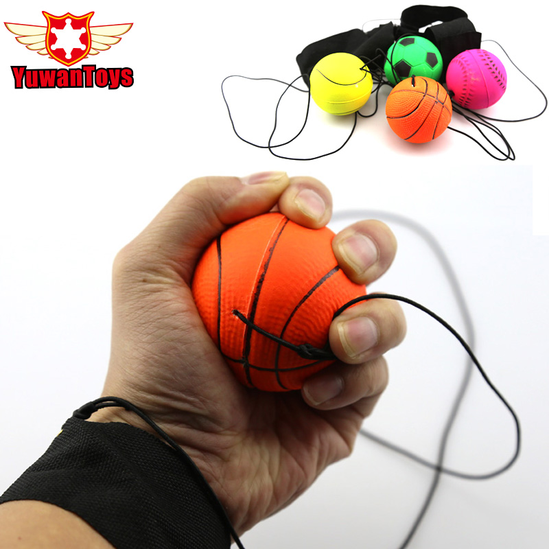 2017 fun 63mm Bouncy Fluorescent Rubber Ball Wrist Band Ball Board Game Funny Elastic Ball training antistress Random Color