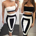 Hot Sale 2016 Summer New Arrival Fashion Two Piece Set Women Black With White Sexy Bodycon Party Crop Top And Shirt Set