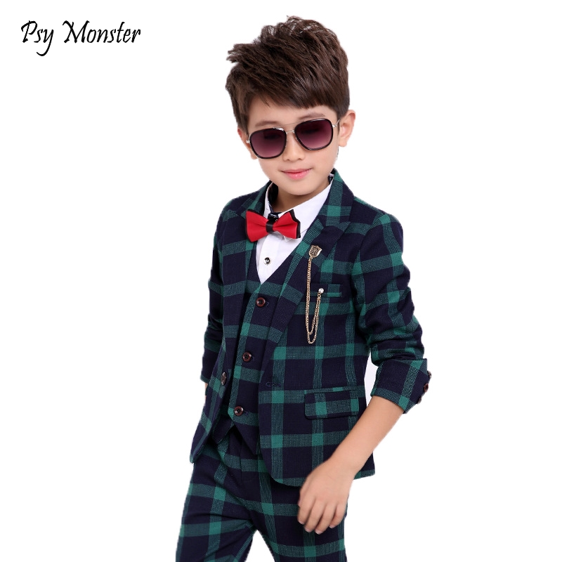 Flower Boys Formal School Suits for Weddings Boys Brand Plaid Blazer Vest Pants 3pcs Tuxedo Kids Prom Party Dress Clothing Sets wosai glass marble porcelain spear head ceramic tile drill bits set 6 pcs 4 5 6 8 10 12mm 1 4 hex shank spade drill bit