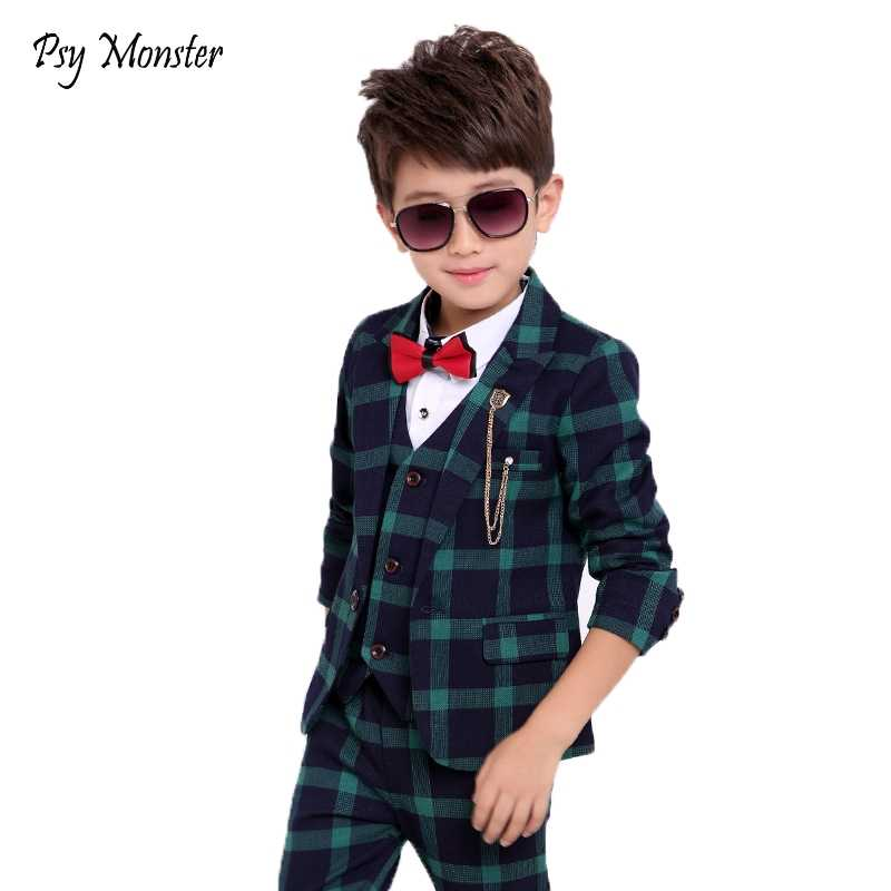 9b758f9a8 Flower Boys Formal School Suits for Weddings Boys Brand Plaid Blazer Vest  Pants 3pcs Tuxedo Kids