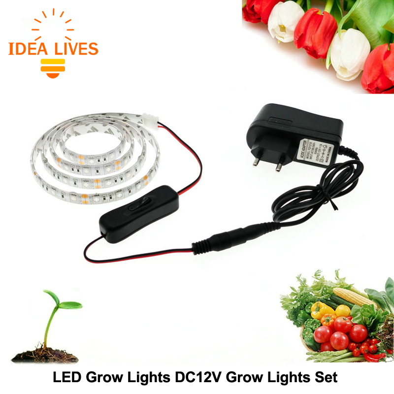led grow lights dc12v growing led strip plant growth light set with adapter and switch in led. Black Bedroom Furniture Sets. Home Design Ideas