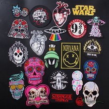 Pulaqi Magical UFO Punk Patch Iron On Patches For Clothing rock Styles Embroidered Clothes DIY Badges F