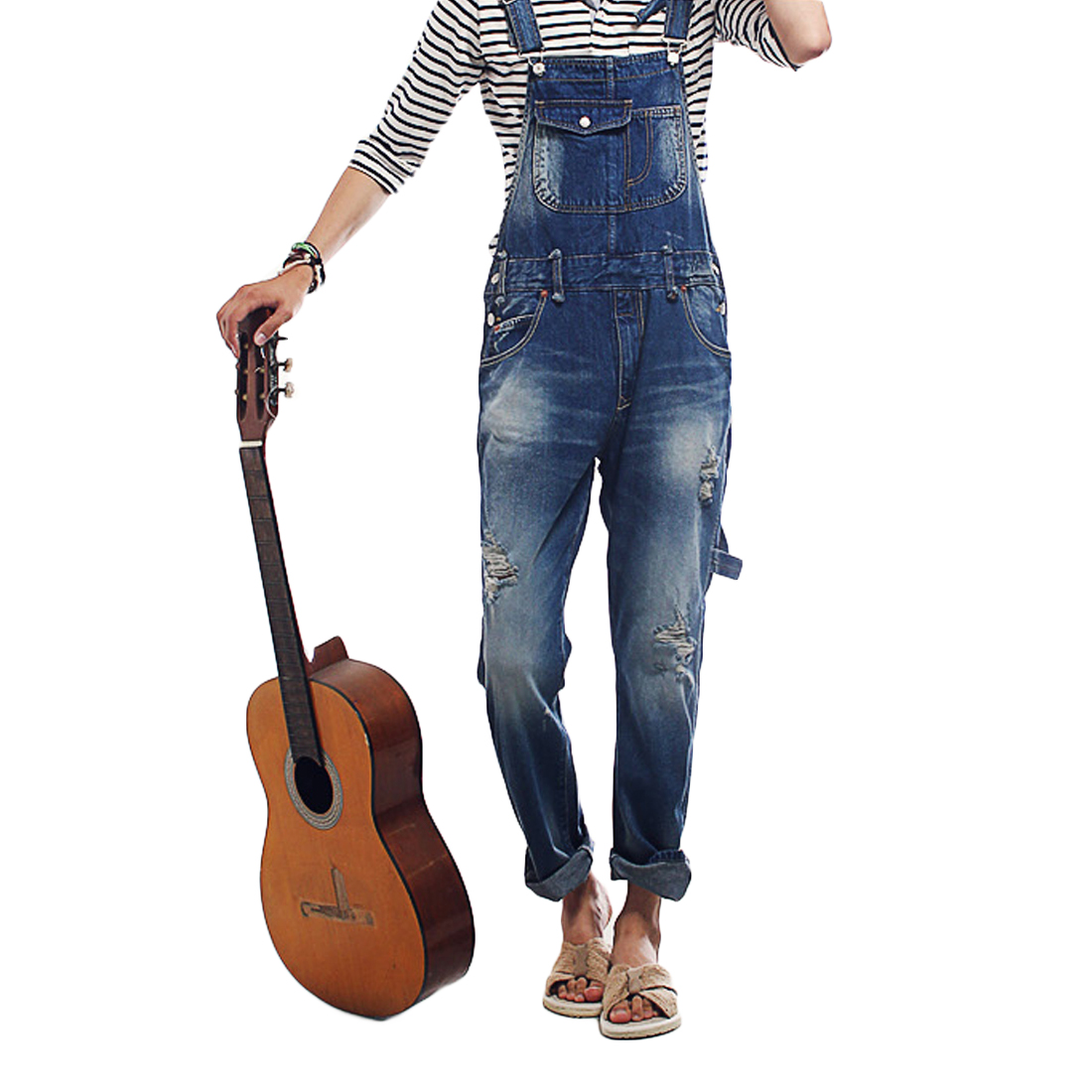 Retro Men's Holes Trousers Pants Suspenders Slim Destroyed Long Pants Overalls Jeans Pocket Classic Denims Ripped Jumpsuits Blue new mens skinny jean overalls blue suspenders multi pocket bib pants holes denim trousers size m 2xl