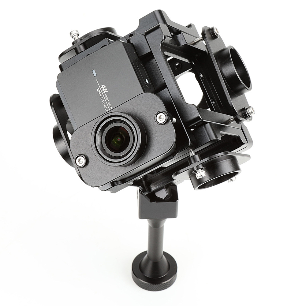 Galleria fotografica PGY-6S 360 degree tripod heads VR Panoramic bracket Rig sport camera Accessories for Xiaomi YI 4K mounts 6 action camera frames