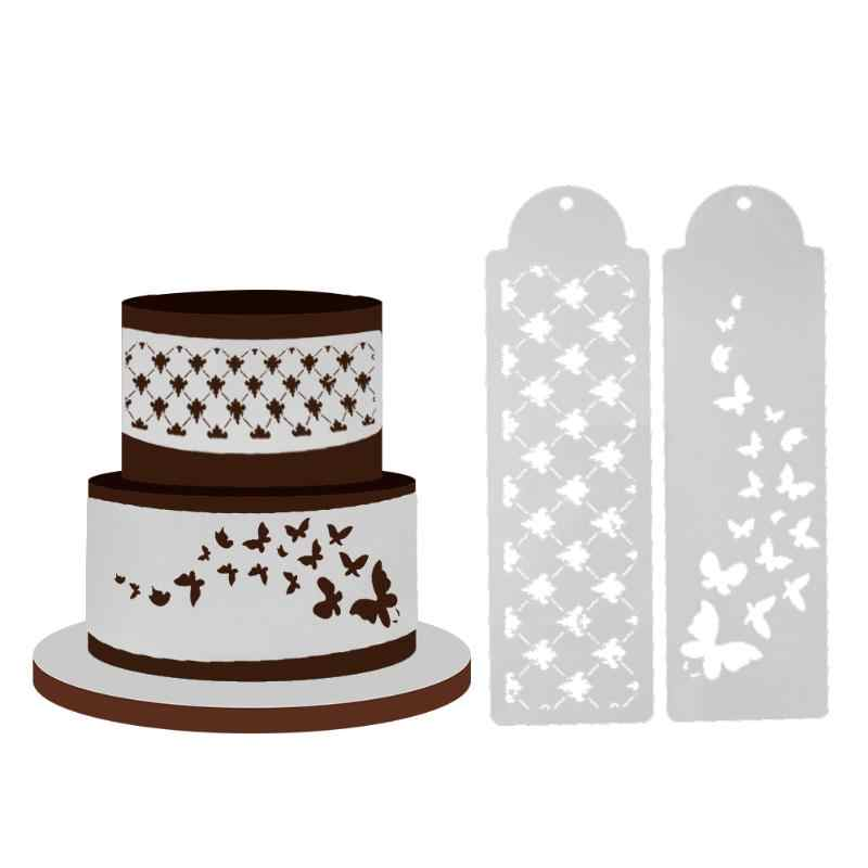 2pcs/Lot Plastic Butterfly Decorating Cake Stencil Cake Decoration Cake Mold Fondant Bakeware Stencil  Embossing Template Tools