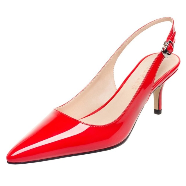MAVIRS 2017 Pointed Toe Peach Red Patent 6.5 CM Stilettos Kitten ...
