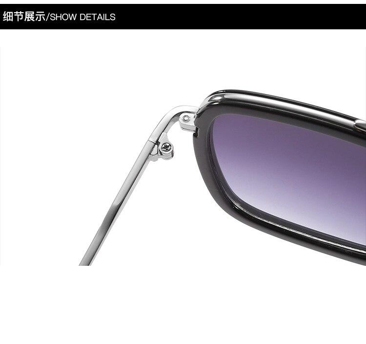 luxury Fashion Avengers Tony Stark Style for women Sunglasses Men Square Brand Design Sun Glasses Oculos Retro male iron Man 20