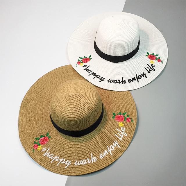 HT1091 New Fashion Matahari Musim Panas Perempuan Topi Besar Bertepi Lebar  Wanita Topi Jerami Floppy Topi 08b01196d3