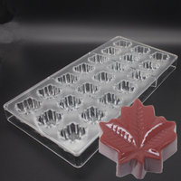 High Quality Pastry Tool Maple Leaf Shape Chocolate Clear Polycarbonate Plastic Mold DIY Handmade Chocolate PC