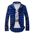 New Autumn Fashion Mens Plaid Shirt Casual Long Sleeve Slim Fit Check Shirts Leisure Style Male Clothes 5 Colors M-XXL