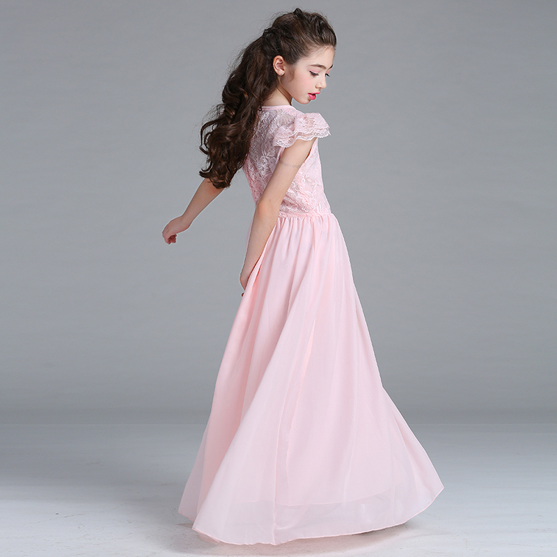 Retail Personalize Lace Chiffon   Flower     Girls   Long   Dress   Short Sleeves Heart Neck Noble   Girls   Evening Party   Dress   lace005