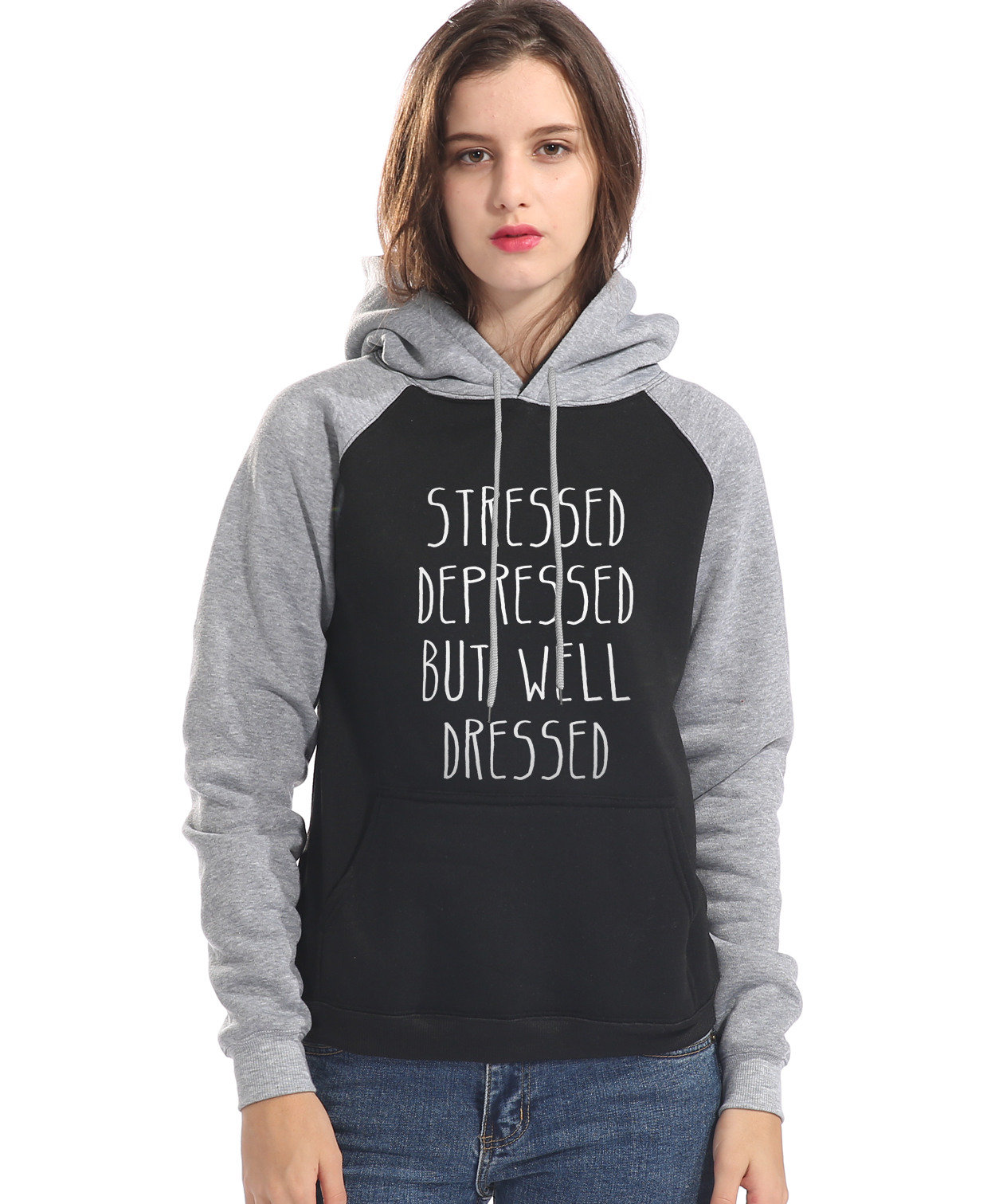 hooded 2017 raglan sleeve fitness sweatshirt STRESSED DEPRESSED BUT WELL DRESSED women kpop harajuku tracksuit femme brand hoody