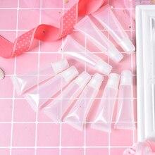 10 adet/paket 5ml kozmetik dudak parlatıcısı boş doldurulabilir tüpler plastik şeffaf dudak balsamı makyaj kapları araçları