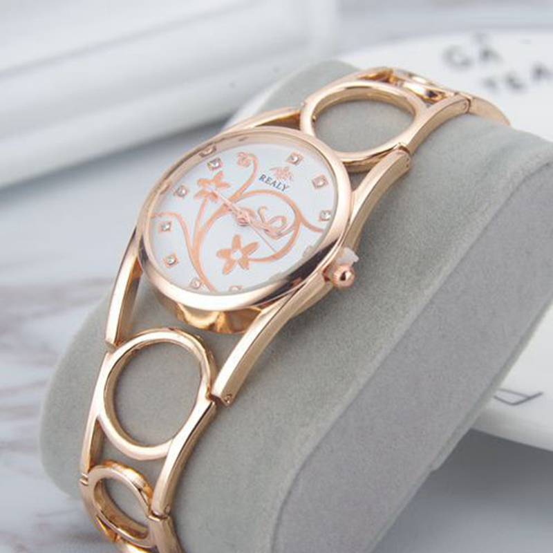 Quartz Watches Women Hollow Stainless Steel Ring Wristwatch ...