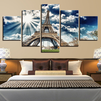 Canvas Print Picture 5 Pieces Eiffel Tower Blue Sky Painting Building Modern Living Room Wall Art