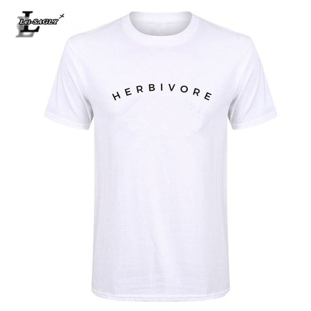 186d02afb238 Lei-SAGLY Herbivore Letter Print Men s T Shirt Casual Cotton Funny Shirt  for Men Top Tee Hipster Plants Vegan Tee Shirt