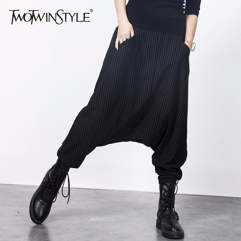 TWOTWINSTYLE Striped Pants Womens Elastic High Waist Pocket Large Size Casual Long Trousers Spring Fashion New