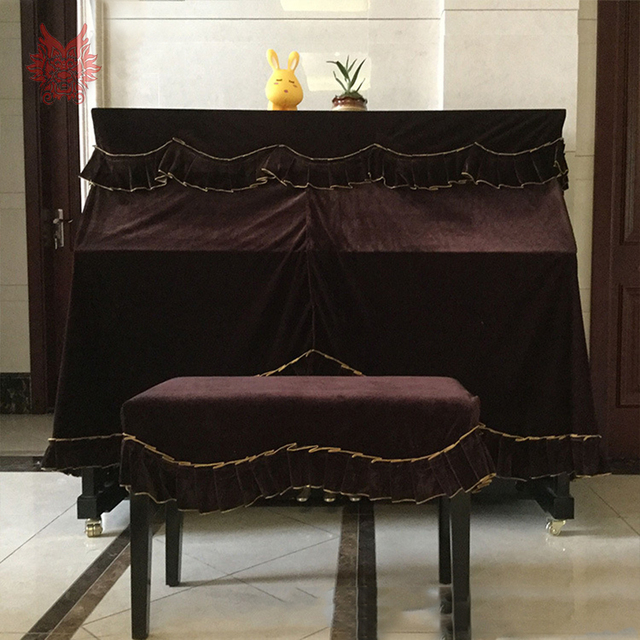 European Style Luxury Purple Velvet Upright Piano Cover Dust Proof Stool Banqueta Terciopelo Hosse Tabouret Sp5284