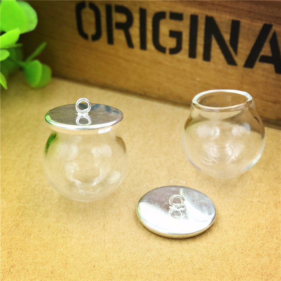 100sets/lot 20mmx15mm clear empty glass globe bottle with silver base cap set vial pendant dome cover