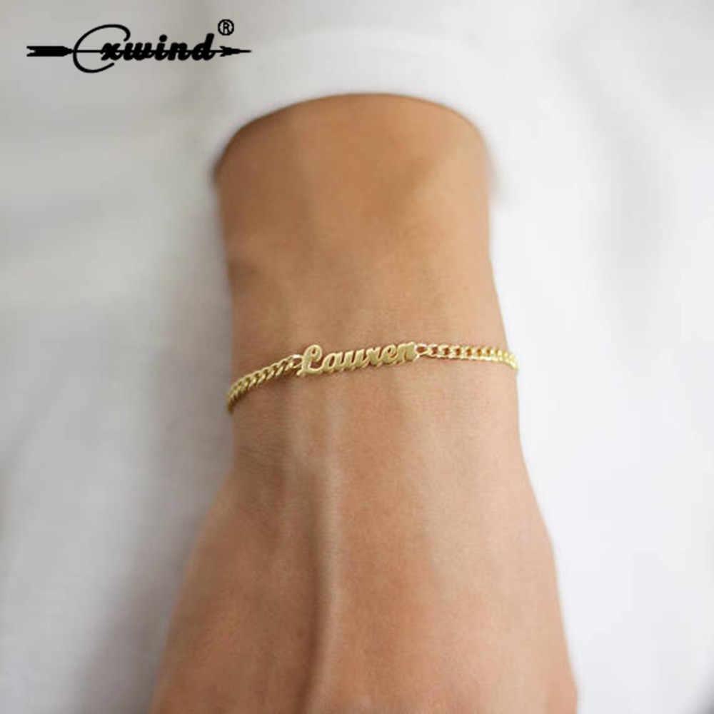 6cc7cf6278ad Cxwind moda personalizada carta pulsera y brazalete para mujer ajustable  Simple Pulseras joyería regalos de fiesta