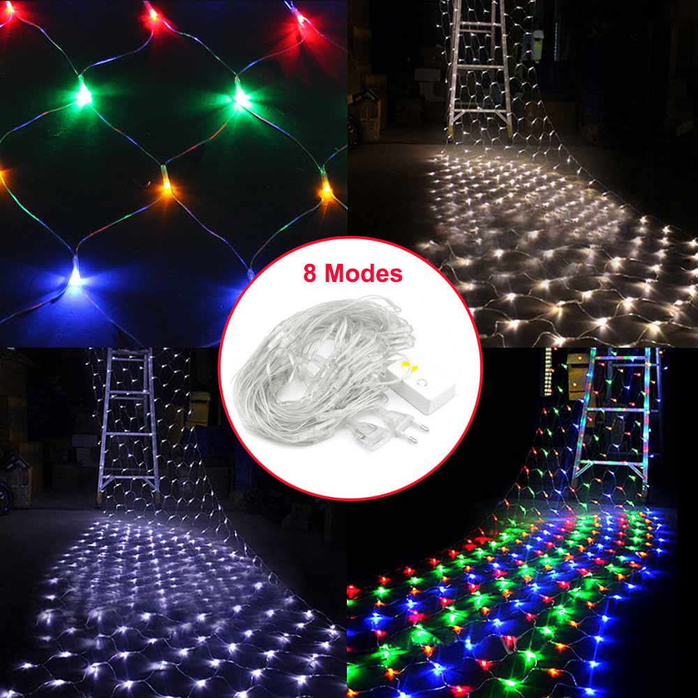 3x2m 1.5x1.5m LED Net Mesh String Light 8 Mode Flicker Fairy Light Lamps Christmas Wedding Party Decoration Lighting EU US Plug 750leds 6 4m net string light outdoor garden party festival wedding decoration mesh led christmas light 220v eu us plug