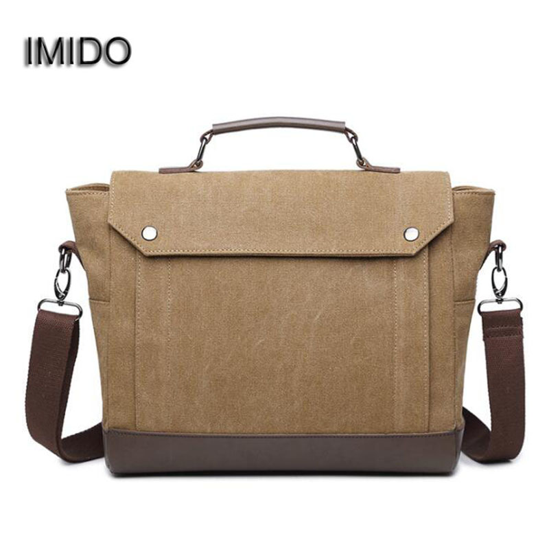IMIDO Designer Brand Vintage Men Handbags Canvas with Leather Shoulder Messenger Bags Crossbody Briefcase Travel Bag Brown NB005 canvas leather crossbody bag men briefcase military army vintage messenger bags shoulder bag casual travel bags