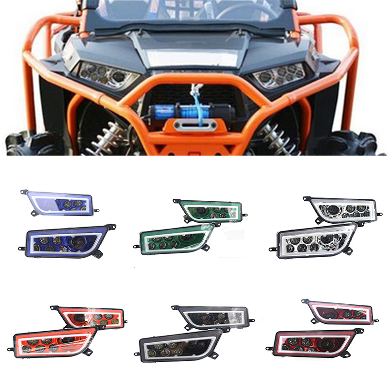 Polaris RZR Headlights LED RGB Halo Kit Multicolor RGB Halo Angle Eyes APP Bluetooth Remote Auto Accessories ATV LED Headlight