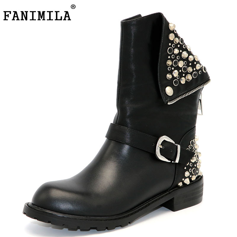 FANIMILA Real Genuine Leather Boots Rivet Square Heels Autumn Winter Mid Calf Sexy Martin Fur Snow Boots Shoes Woman Size 34-39 double buckle cross straps mid calf boots