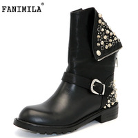 Real Genuine Leather Boots Rivet Square Heels Autumn Winter Mid Calf Sexy Martin Fur Snow Boots