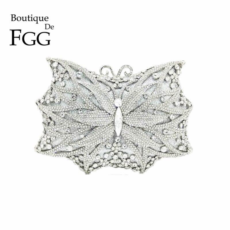 Bouotique De FGG Hollow Out Silver Butterfly Clutch Women Crystal Evening Bags Diamond Handbags Purses Wedding
