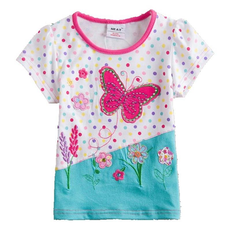 Lány póló 2017 nyári pillangó színes pont nyomtatás napraforgó minta aranyos lány ruhák kerek gallér pamut gyermek póló S2132