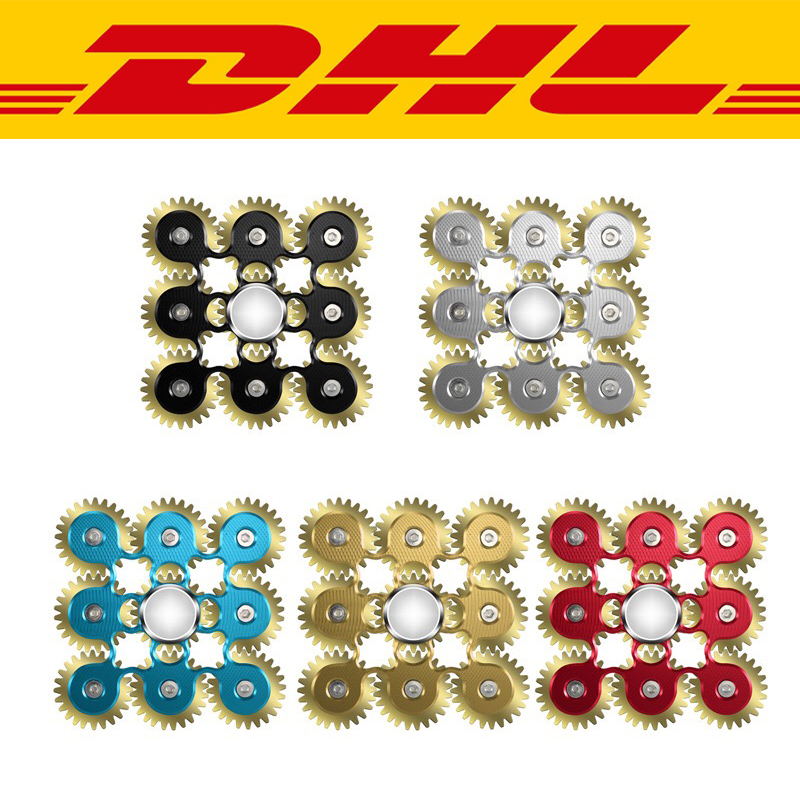 100Pcs/Lot Rainbow Gears Top Gyro Fidget Spinner Aluminium Alloy Adults child Anti Stress Toys Autism ADHD EDC Hand Spinner gift 2017 hot edc spinner toys pattern hand spinner metal fidget spinner and adhd adults children educational toys hobbies